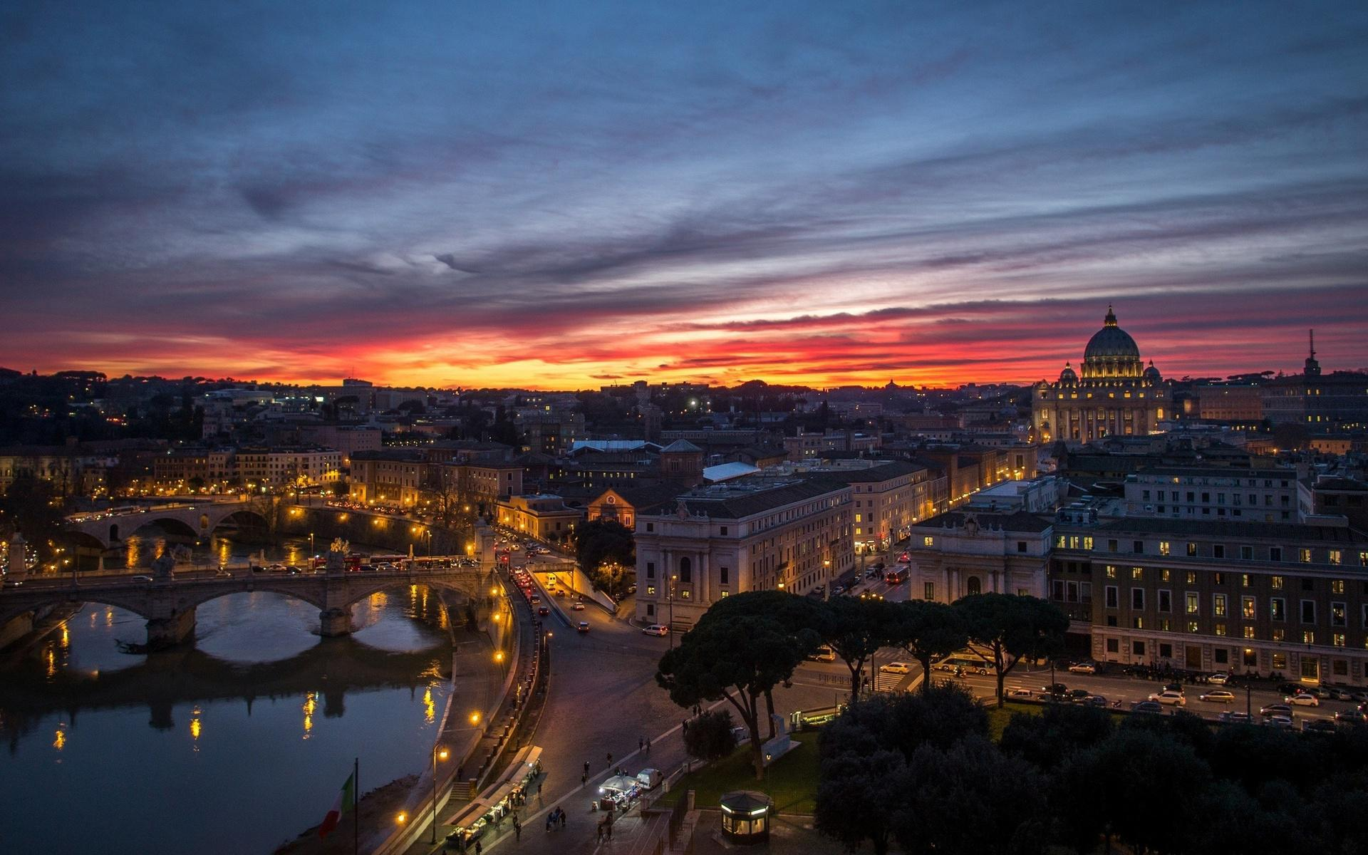 rome-vatican-city-night-sunset-panorama-houses-buildings-reflection-background
